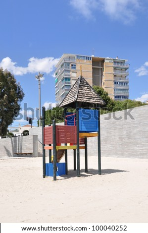 Worn Wood Playground on beach in Albuferta a neighborhood in the Valencia community and province of costa blanca Alicante Spain Europe with bottom and top copy space