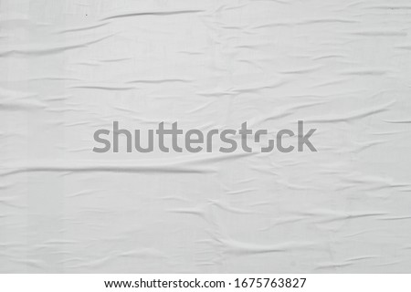 Worn wrinkled creative paper texture background concept, white street poster