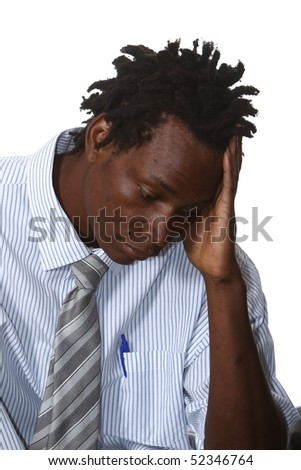 Worried African Businessman With Dreadlocks Hairstyle Stock Photo ...