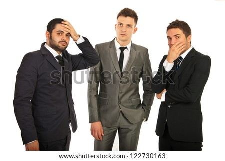 Worried and stressed  group of business men thinking at solutions isolated on white background