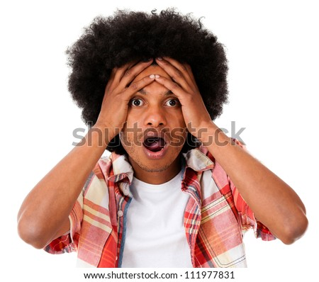 Worried black man looking surprised - isolated over a white background