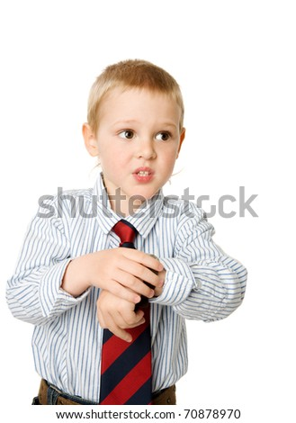 Worried boy running late checking time isolated on white