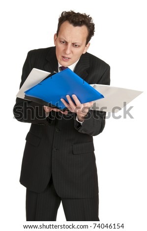 Worried business man with business folder, isolated on white background.