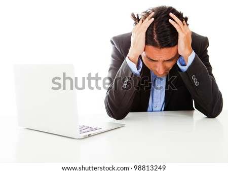 Worried businessman looking upset - isolated over a white background