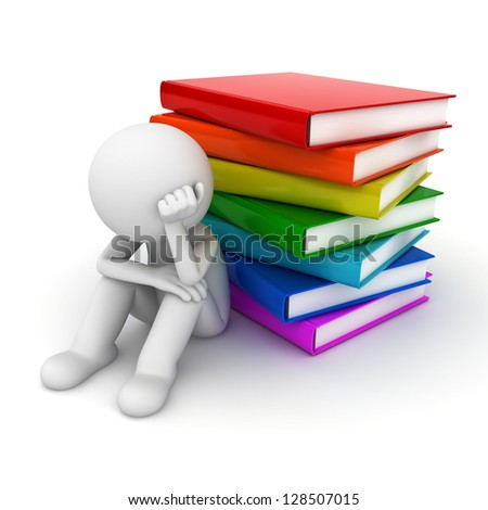 Worried 3d man sitting with stack of books over white background