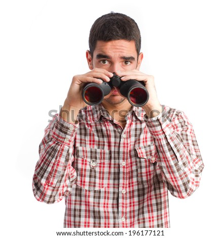 worried man with binoculars