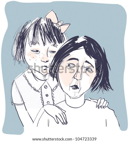 Worried Mother and Daughter Illustration. Parenting childhood problems concept.