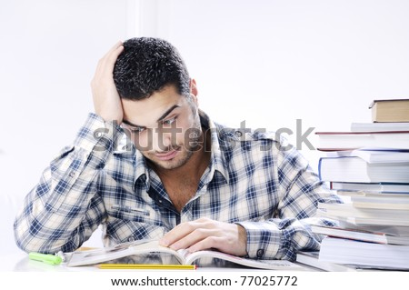 worried student looking books on white background, concept of concern