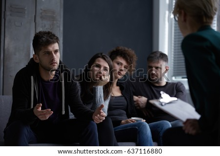 Worried young people with bad habits on group psychotherapy