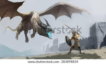 Stock Photo worrier fighting dragon outside castle