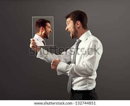 worry man have a hot discussion with himself