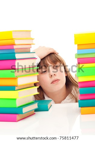 worry  schoolgirl with learning difficulties, isolated on background
