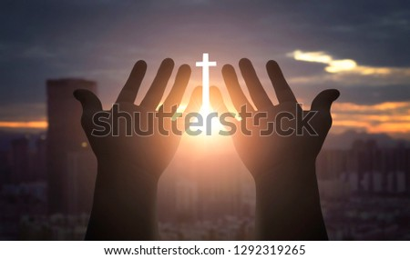 Worship and praise concept: Human hands open palm up worship