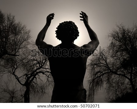 Worship - Man praising God on a moonlit night