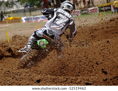 WORTHAM, TEXAS - JUNE 8:  James Stewart throws a roost and wins the Freestone round of AMA/Toyota Motocross National Championship Series  on June 8, 2008 in Wortham, TX.