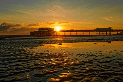 Worthing beach, West Sussex, UK at sunset