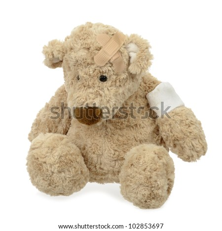 wounded teddy bear with bandage