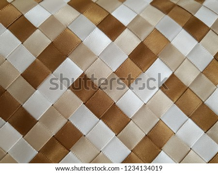 woven brown light brown white satin ribbons #1234134019