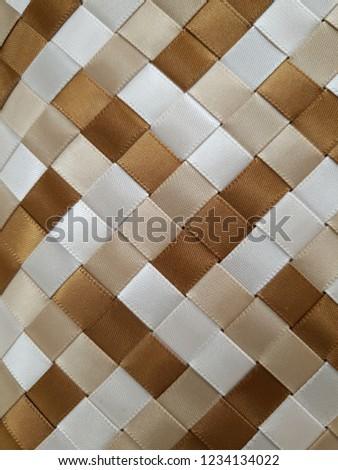 woven brown light brown white satin ribbons #1234134022