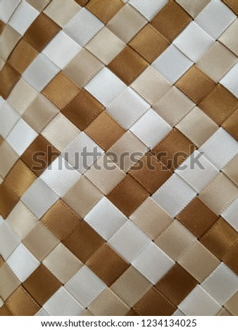 woven brown light brown white satin ribbons #1234134025