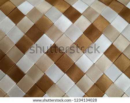 woven brown light brown white satin ribbons #1234134028
