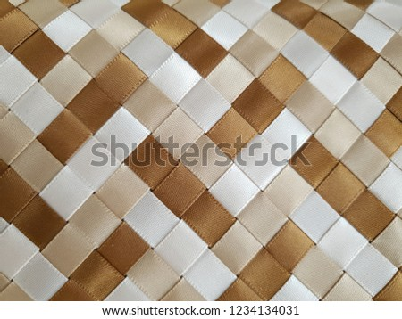woven brown light brown white satin ribbons #1234134031