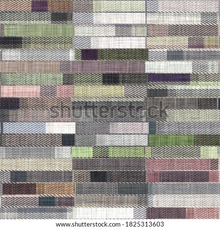Woven cloth patchwork background  pattern. Traditional quilt home decor linen cloth texture effect. Seamless soft furnishing fabric.  Variegated melange winter homespun cozy all over print.  Foto stock ©
