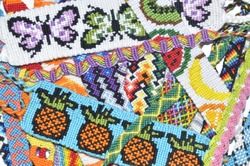 Woven friendship bracelets with alpha and normal patterns handmade of thread