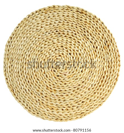 woven round hand made background isolated - stock photo