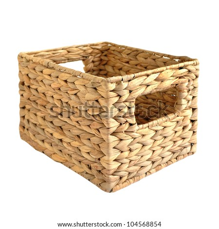 Woven straw basket isolated on the white