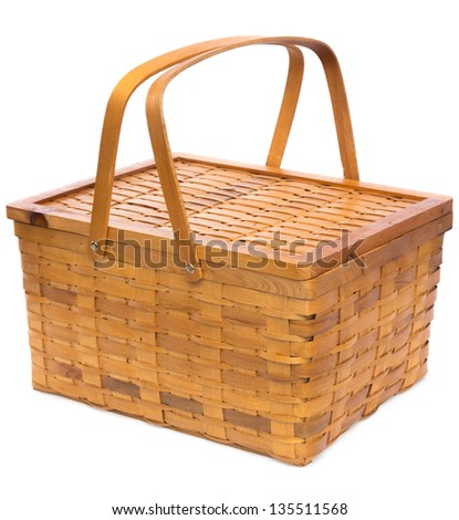 Woven Wood Basket Isolated on White