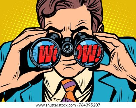 wow Businessman looking through binoculars. Pop art retro  illustration