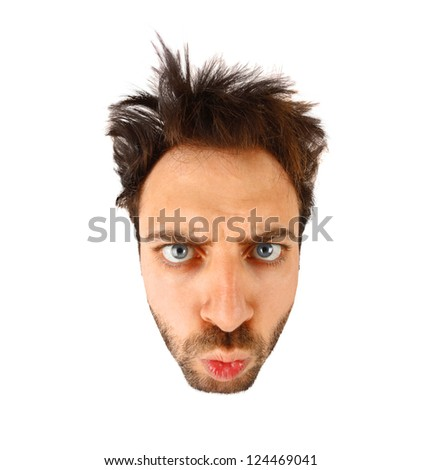 WOW face on white background