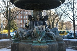 Wrangelbrunnen, a fountain in Berlin-Kreuzberg, built in 1877 by Hugo Hagen. Four figures personifying the four rivers Rhine, Weichsel (Vistula), Elbe and Oder. Built in marble, granite and bronze