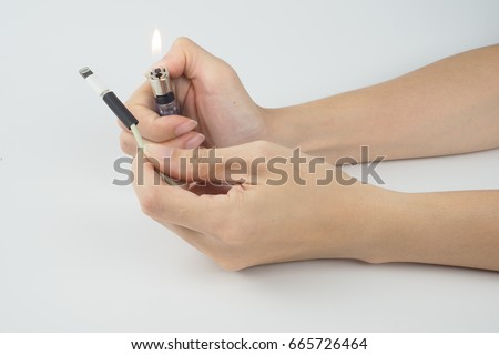 wrap lightning port with heat shrink tube and lighter on white background