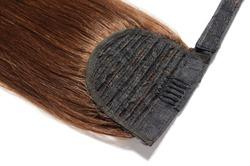 wrap round clip in straight reddish dark brown human hair ponytail extension