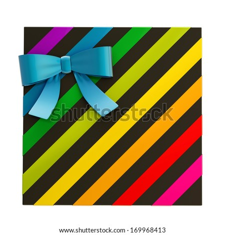 Wrapped black gift box with a rainbow colored metallic bow and ribbon isolated over white background, 3d render illustration