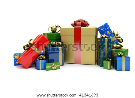 Wrapped christmas presents isolated over a white background