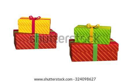 wrapped gift boxes isolated on white background, 3d illustration