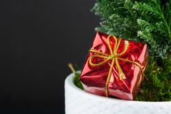 Wrapped gifts under a Christmas tree with copyspace