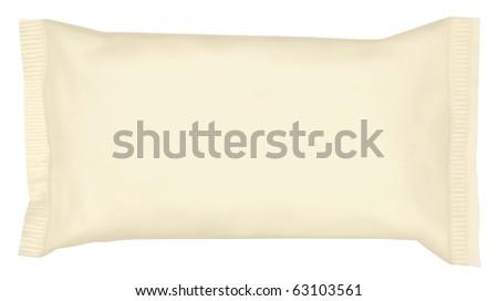 Wrapped ice cream on white background.