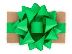 Wrapped kraft paper brown gift box with green ribbon bow, isolated on white, top view