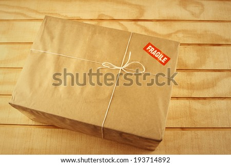 Wrapped package on table top