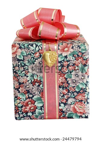 wrapped present isolated on white background