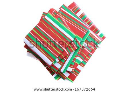 Wrapped presents, books for holiday Christmas season