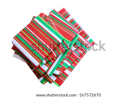 Wrapped presents, books for holiday Christmas season