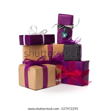 Wrapped presents isolated over white background #527472295