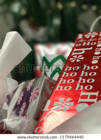 Wrapped presents under tree