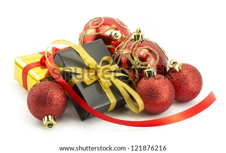 wrapped presents with bows and ribbons, box