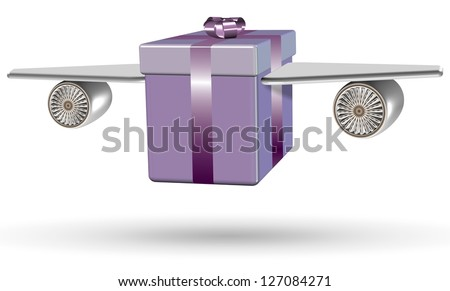 Wrapped purple present box with airplane wings attached to it / Flying present
